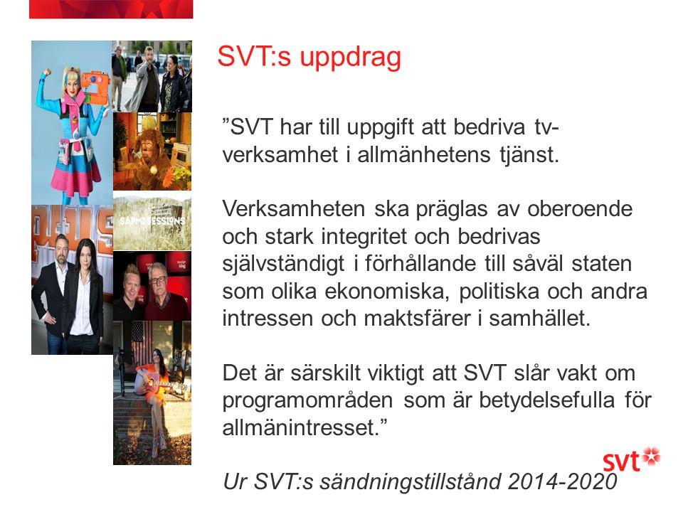 """SVT:s uppdrag Sidfot """"SVT har till uppgift att bedriva tv- verksamhet i allmänhetens tjänst. Verksamheten ska präglas av oberoende och stark integrite"""
