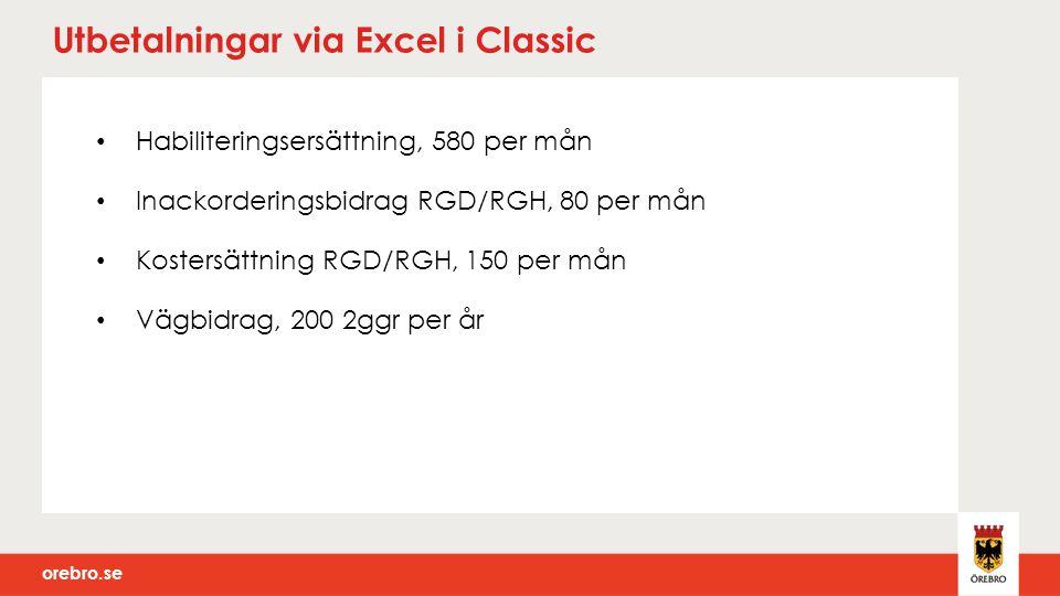 orebro.se Utbetalningar via Excel i Classic Habiliteringsersättning, 580 per mån Inackorderingsbidrag RGD/RGH, 80 per mån Kostersättning RGD/RGH, 150