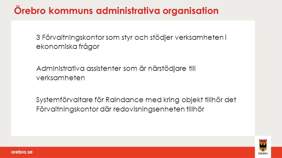 orebro.se Örebro kommuns administrativa organisation 3 Förvaltningskontor som styr och stödjer verksamheten i ekonomiska frågor Administrativa assiste