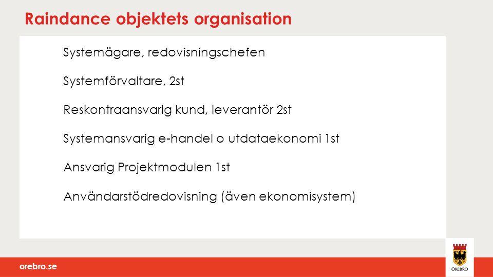 orebro.se Raindance objektets organisation Systemägare, redovisningschefen Systemförvaltare, 2st Reskontraansvarig kund, leverantör 2st Systemansvarig