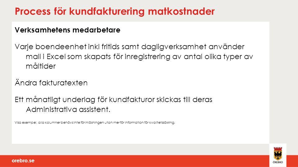 orebro.se Process för kundfakturering matkostnader Verksamhetens medarbetare Varje boendeenhet inkl fritids samt dagligverksamhet använder mall i Exce