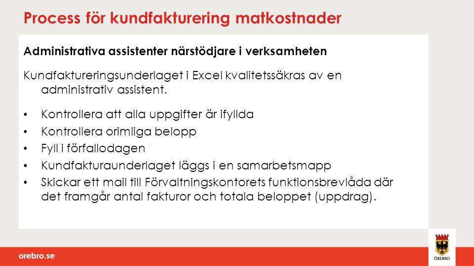 orebro.se Process för kundfakturering matkostnader Administrativa assistenter närstödjare i verksamheten Kundfaktureringsunderlaget i Excel kvalitetss