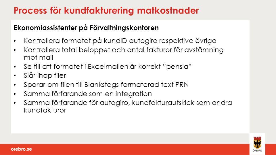 orebro.se Process för kundfakturering matkostnader Ekonomiassistenter på Förvaltningskontoren Kontrollera formatet på kundID autogiro respektive övrig