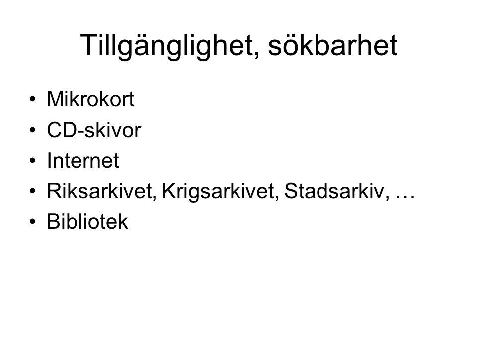 Tillgänglighet, sökbarhet Mikrokort CD-skivor Internet Riksarkivet, Krigsarkivet, Stadsarkiv, … Bibliotek