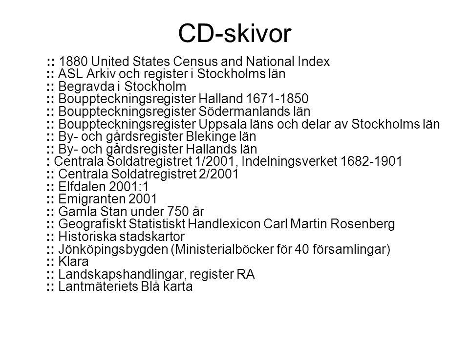 CD-skivor :: 1880 United States Census and National Index :: ASL Arkiv och register i Stockholms län :: Begravda i Stockholm :: Bouppteckningsregister