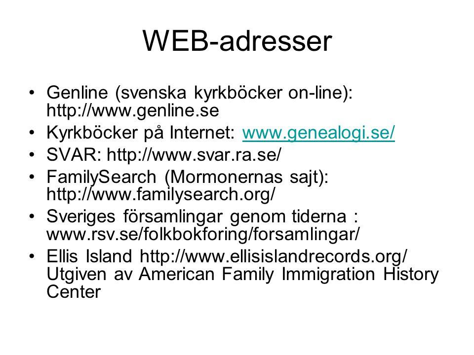 WEB-adresser Genline (svenska kyrkböcker on-line): http://www.genline.se Kyrkböcker på Internet: www.genealogi.se/www.genealogi.se/ SVAR: http://www.svar.ra.se/ FamilySearch (Mormonernas sajt): http://www.familysearch.org/ Sveriges församlingar genom tiderna : www.rsv.se/folkbokforing/forsamlingar/ Ellis Island http://www.ellisislandrecords.org/ Utgiven av American Family Immigration History Center