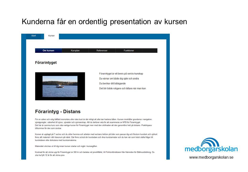 www.medborgarskolan.se Kunderna får en ordentlig presentation av kursen