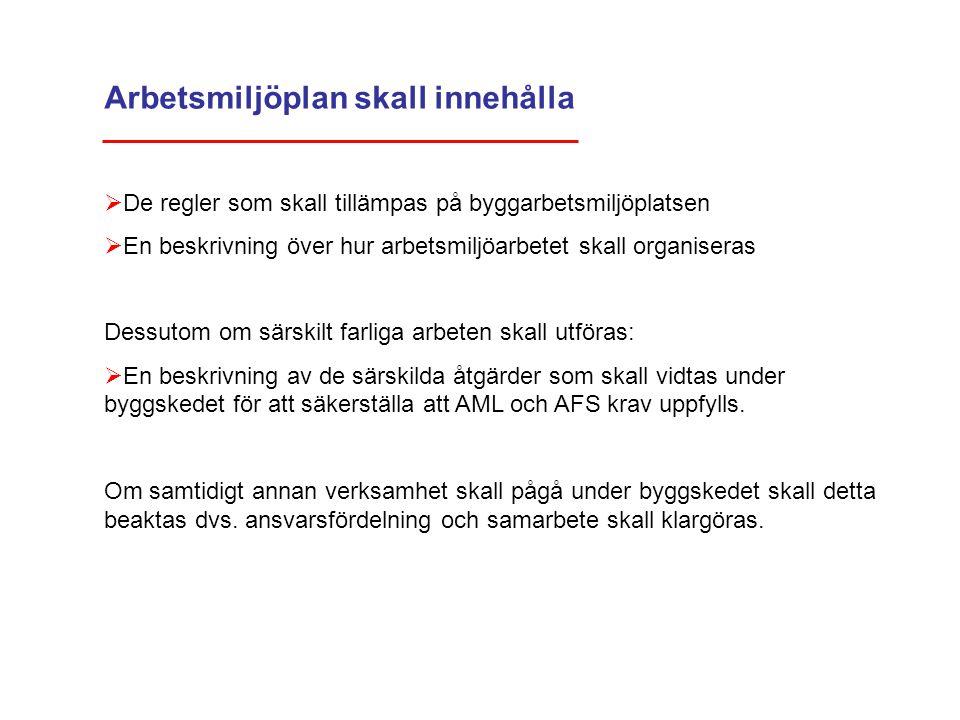 Arbetsmiljöplan skall innehålla  De regler som skall tillämpas på byggarbetsmiljöplatsen  En beskrivning över hur arbetsmiljöarbetet skall organiser