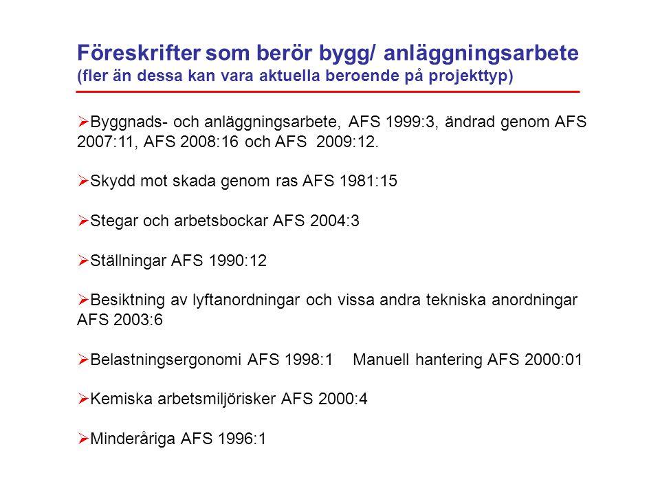 Föreskrifter som berör bygg/ anläggningsarbete (fler än dessa kan vara aktuella beroende på projekttyp)  Byggnads- och anläggningsarbete, AFS 1999:3,