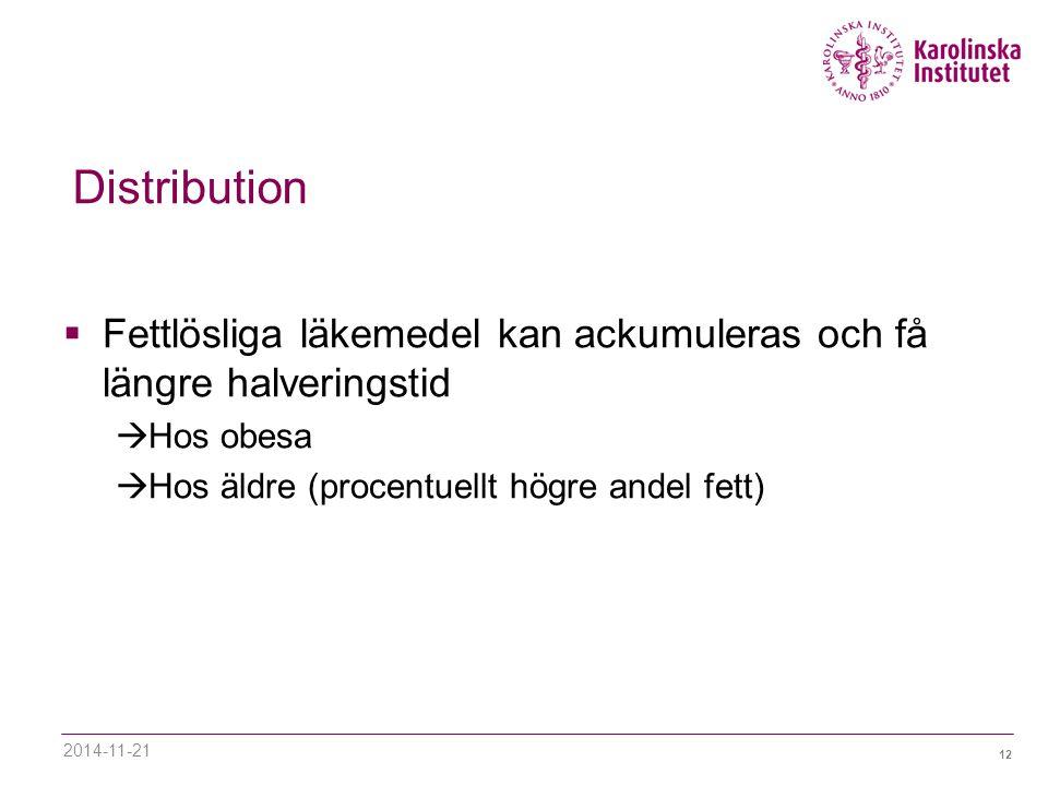 12 Distribution  Fettlösliga läkemedel kan ackumuleras och få längre halveringstid  Hos obesa  Hos äldre (procentuellt högre andel fett) 2014-11-21