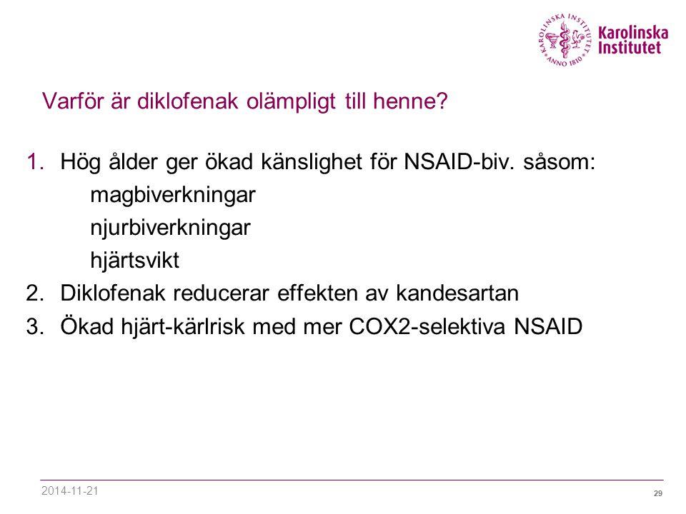 29 Varför är diklofenak olämpligt till henne.1.Hög ålder ger ökad känslighet för NSAID-biv.