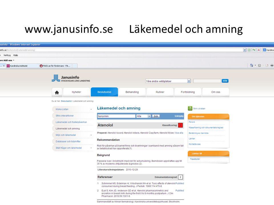 www.janusinfo.se Läkemedel och amning 35