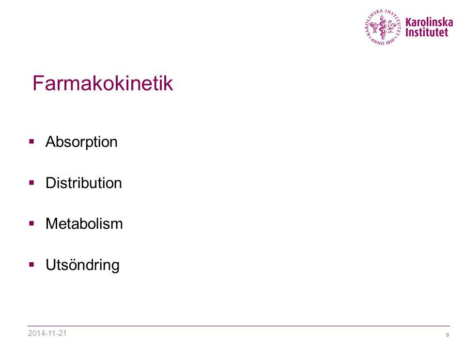 9 Farmakokinetik  Absorption  Distribution  Metabolism  Utsöndring 2014-11-21