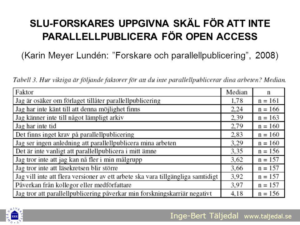"""Inge-Bert Täljedal www.taljedal.se SLU-FORSKARES UPPGIVNA SKÄL FÖR ATT INTE PARALLELLPUBLICERA FÖR OPEN ACCESS (Karin Meyer Lundén: """"Forskare och para"""