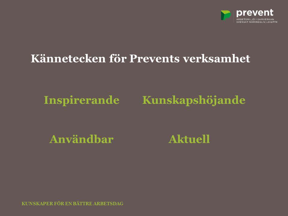 Inspirerande AktuellAnvändbar Kunskapshöjande Kännetecken för Prevents verksamhet