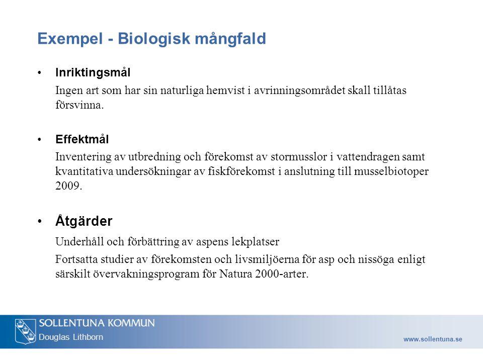 www.sollentuna.se Douglas Lithborn Exempel - Biologisk mångfald Inriktingsmål Ingen art som har sin naturliga hemvist i avrinningsområdet skall tillåtas försvinna.