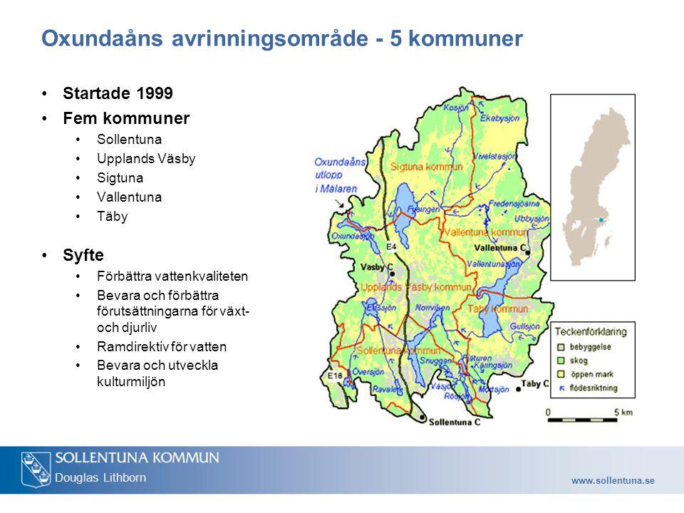 www.sollentuna.se Douglas Lithborn Oxundaåns avrinningsområde - 5 kommuner Startade 1999 Fem kommuner Sollentuna Upplands Väsby Sigtuna Vallentuna Täby Syfte Förbättra vattenkvaliteten Bevara och förbättra förutsättningarna för växt- och djurliv Ramdirektiv för vatten Bevara och utveckla kulturmiljön