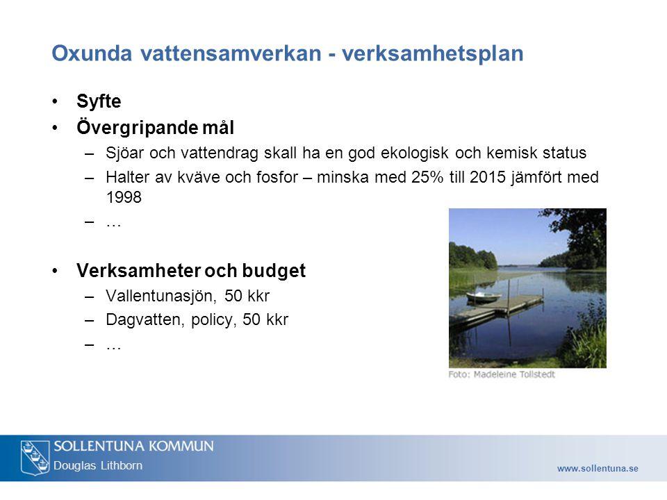 www.sollentuna.se Douglas Lithborn Oxunda vattensamverkan - verksamhetsplan Syfte Övergripande mål –Sjöar och vattendrag skall ha en god ekologisk och kemisk status –Halter av kväve och fosfor – minska med 25% till 2015 jämfört med 1998 –… Verksamheter och budget –Vallentunasjön, 50 kkr –Dagvatten, policy, 50 kkr –…