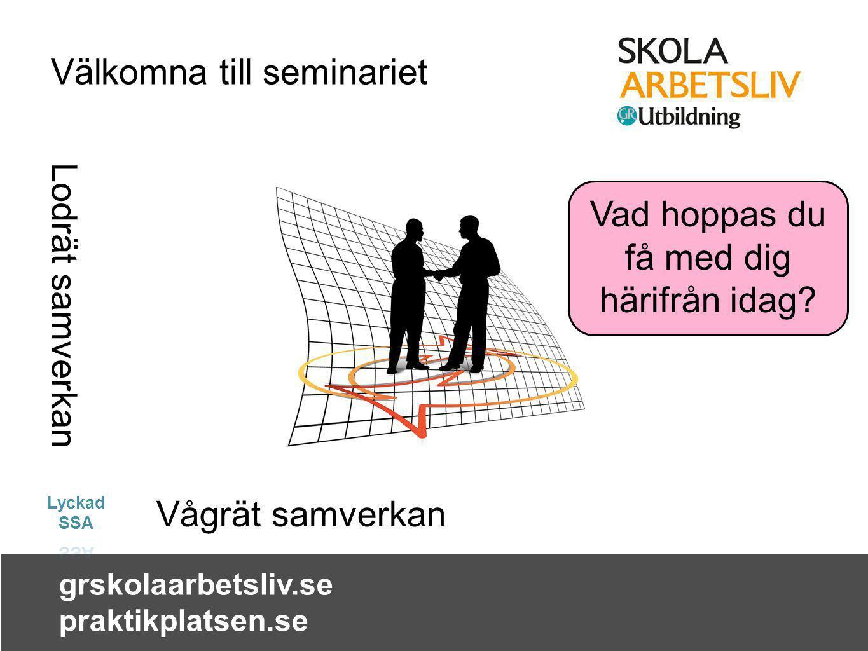 grskolaarbetsliv.se praktikplatsen.se Lodrät samverkan Vågrät samverkan Välkomna till seminariet Vad hoppas du få med dig härifrån idag?