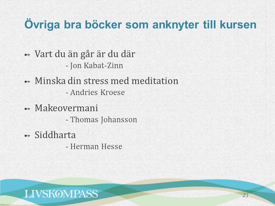 Övriga bra böcker som anknyter till kursen ➻ ➻ Vart du än går är du där - Jon Kabat-Zinn ➻ ➻ Minska din stress med meditation - Andries Kroese ➻ ➻ Mak