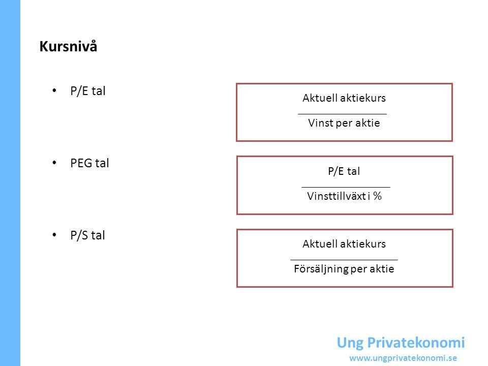 Ung Privatekonomi www.ungprivatekonomi.se Kursnivå P/E tal PEG tal P/S tal Aktuell aktiekurs Vinst per aktie P/E tal Vinsttillväxt i % Aktuell aktieku