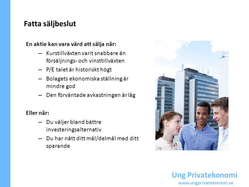 Ung Privatekonomi www.ungprivatekonomi.se Fatta säljbeslut En aktie kan vara värd att sälja när: – Kurstillväxten varit snabbare än försäljnings- och
