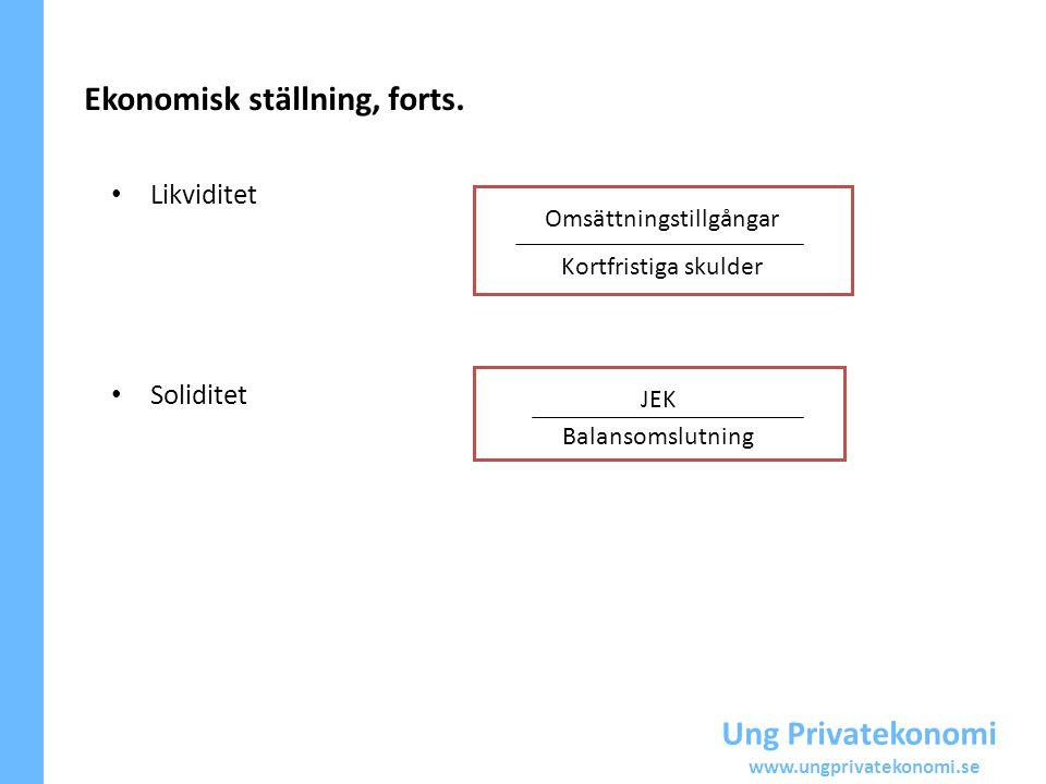 Ung Privatekonomi www.ungprivatekonomi.se Ekonomisk ställning, forts. Likviditet Soliditet Omsättningstillgångar Kortfristiga skulder JEK Balansomslut