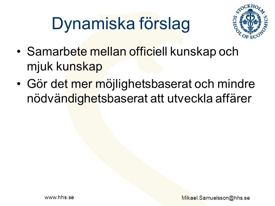 Mikael.Samuelsson@hhs.se www.hhs.se Dynamiska förslag Samarbete mellan officiell kunskap och mjuk kunskap Gör det mer möjlighetsbaserat och mindre nöd