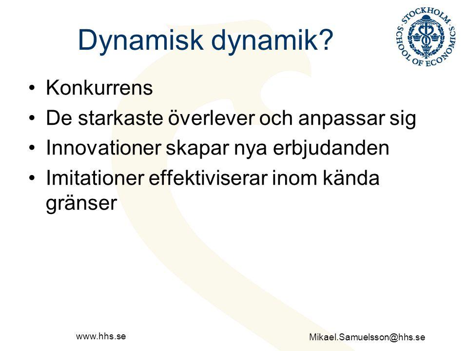 Mikael.Samuelsson@hhs.se www.hhs.se Dynamiska dimensioner Entreprenörer i vardande Etablerade entreprenörer Företag i vardande Etablerade företag Imitationer Innovationer Nya erbjudande Befintliga erbjudande