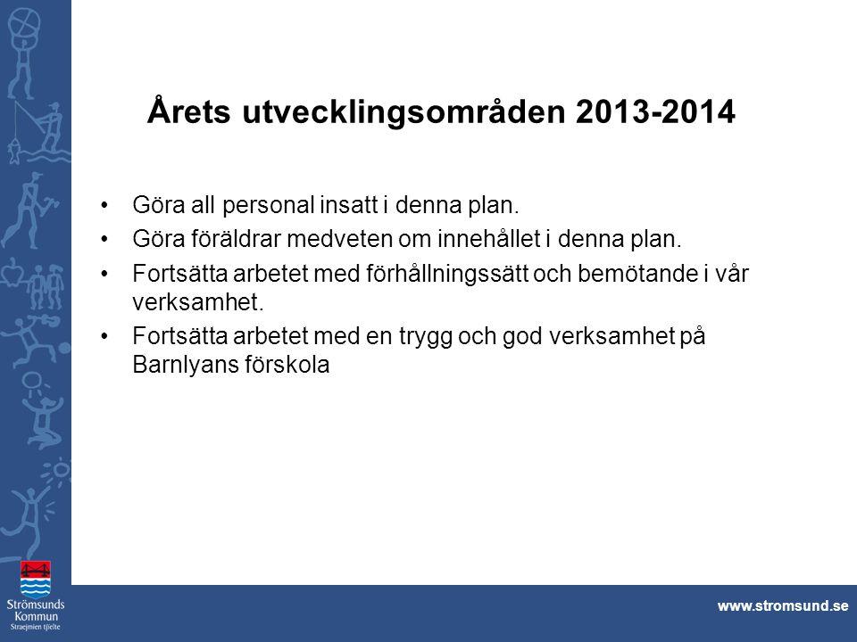 www.stromsund.se Årets utvecklingsområden 2013-2014 Göra all personal insatt i denna plan. Göra föräldrar medveten om innehållet i denna plan. Fortsät