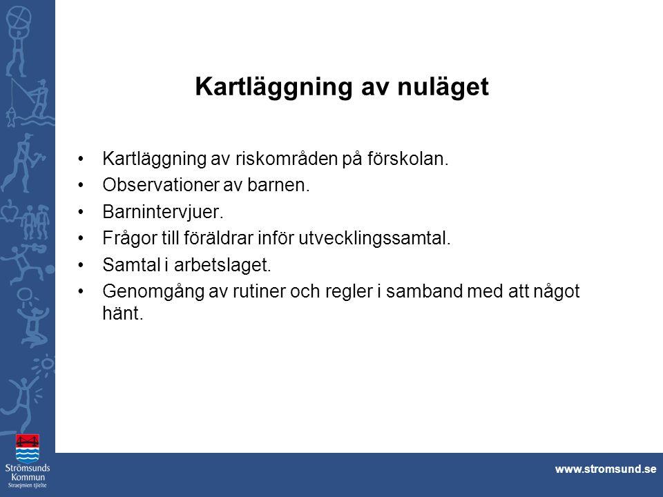 www.stromsund.se Kartläggning av nuläget Kartläggning av riskområden på förskolan. Observationer av barnen. Barnintervjuer. Frågor till föräldrar infö