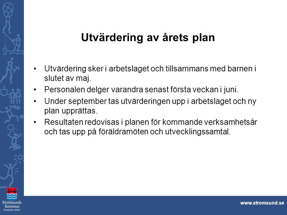 www.stromsund.se Utvärdering av årets plan Utvärdering sker i arbetslaget och tillsammans med barnen i slutet av maj. Personalen delger varandra senas