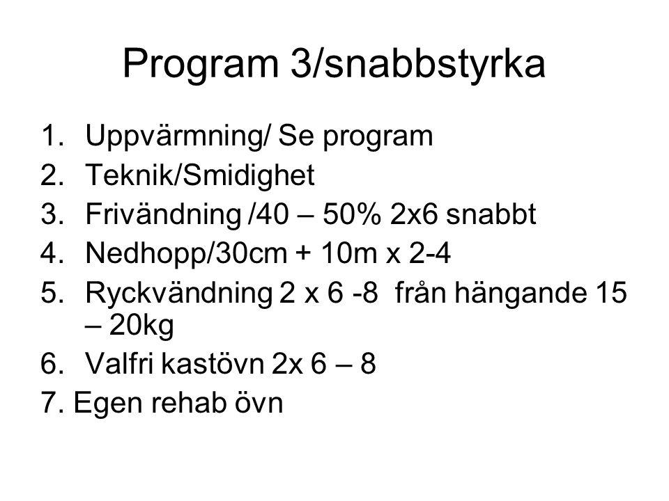 Program 3/snabbstyrka 1.Uppvärmning/ Se program 2.Teknik/Smidighet 3.Frivändning /40 – 50% 2x6 snabbt 4.Nedhopp/30cm + 10m x 2-4 5.Ryckvändning 2 x 6 -8 från hängande 15 – 20kg 6.Valfri kastövn 2x 6 – 8 7.