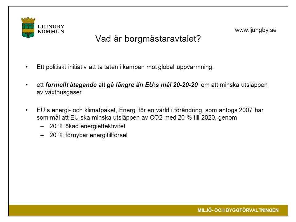 MILJÖ- OCH BYGGFÖRVALTNINGEN www.ljungby.se Vad är borgmästaravtalet? Ett politiskt initiativ att ta täten i kampen mot global uppvärmning. ett formel