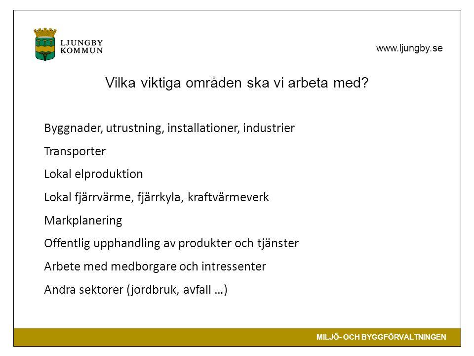 MILJÖ- OCH BYGGFÖRVALTNINGEN www.ljungby.se Byggnader, utrustning, installationer, industrier Transporter Lokal elproduktion Lokal fjärrvärme, fjärrky