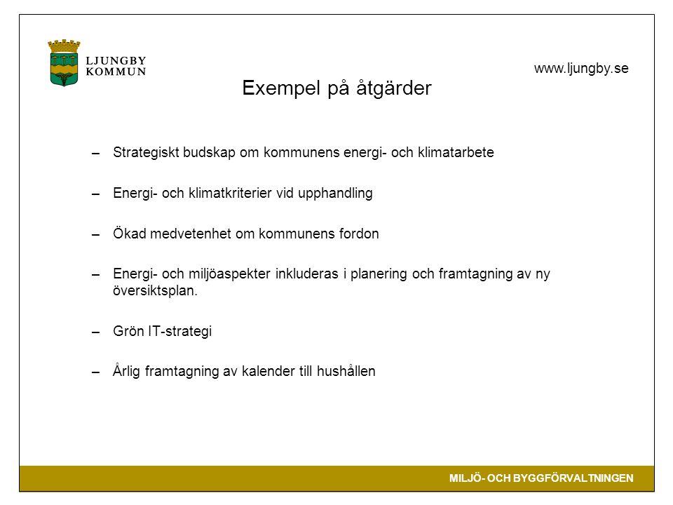 MILJÖ- OCH BYGGFÖRVALTNINGEN www.ljungby.se Exempel på åtgärder –Strategiskt budskap om kommunens energi- och klimatarbete –Energi- och klimatkriterie