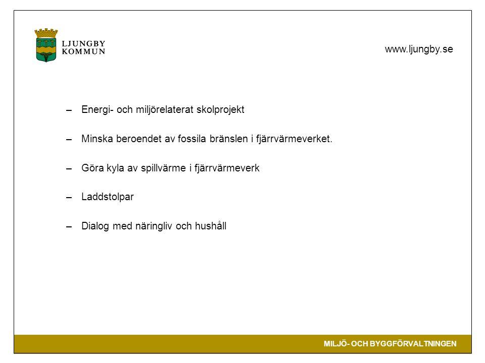 MILJÖ- OCH BYGGFÖRVALTNINGEN www.ljungby.se –Energi- och miljörelaterat skolprojekt –Minska beroendet av fossila bränslen i fjärrvärmeverket. –Göra ky