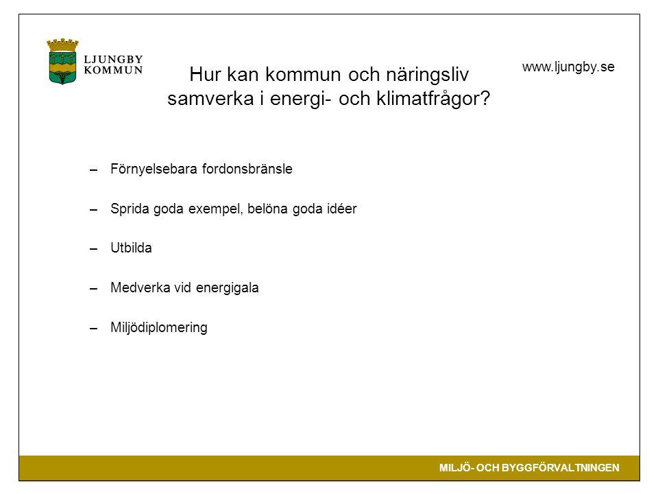 MILJÖ- OCH BYGGFÖRVALTNINGEN www.ljungby.se Hur kan kommun och näringsliv samverka i energi- och klimatfrågor? –Förnyelsebara fordonsbränsle –Sprida g