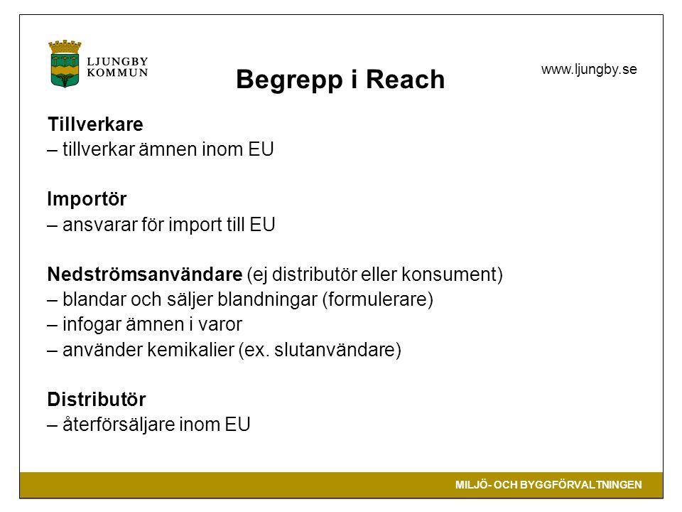 MILJÖ- OCH BYGGFÖRVALTNINGEN www.ljungby.se Begrepp i Reach Tillverkare – tillverkar ämnen inom EU Importör – ansvarar för import till EU Nedströmsanv
