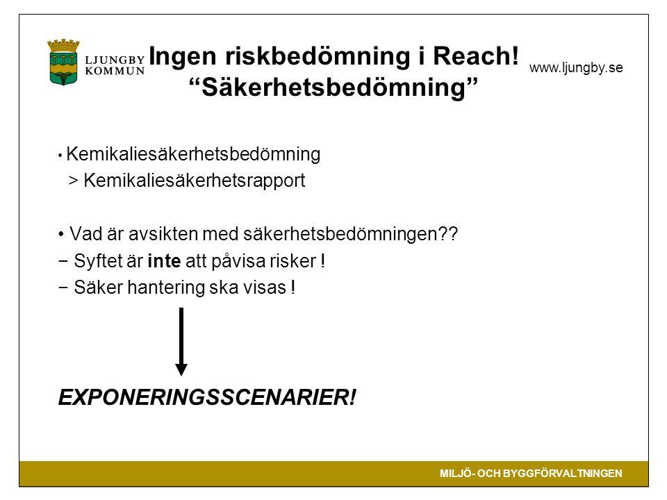 """MILJÖ- OCH BYGGFÖRVALTNINGEN www.ljungby.se Ingen riskbedömning i Reach! """"Säkerhetsbedömning"""" Kemikaliesäkerhetsbedömning > Kemikaliesäkerhetsrapport"""