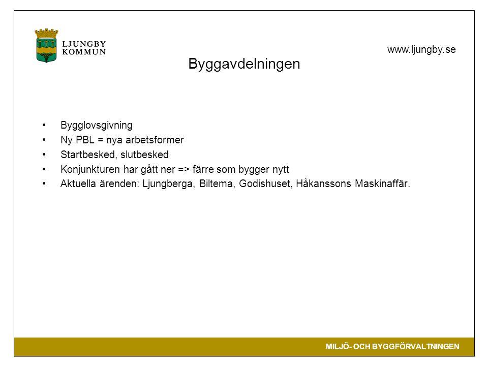 MILJÖ- OCH BYGGFÖRVALTNINGEN www.ljungby.se Byggavdelningen Bygglovsgivning Ny PBL = nya arbetsformer Startbesked, slutbesked Konjunkturen har gått ne
