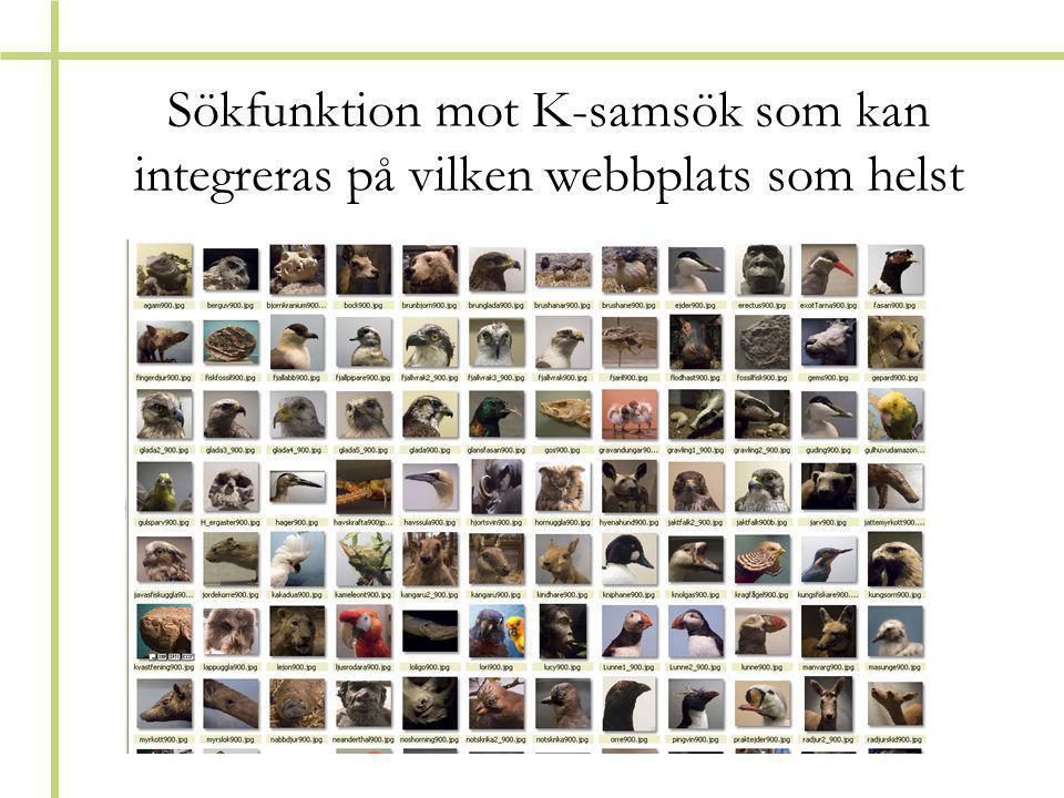 Sökfunktion mot K-samsök som kan integreras på vilken webbplats som helst