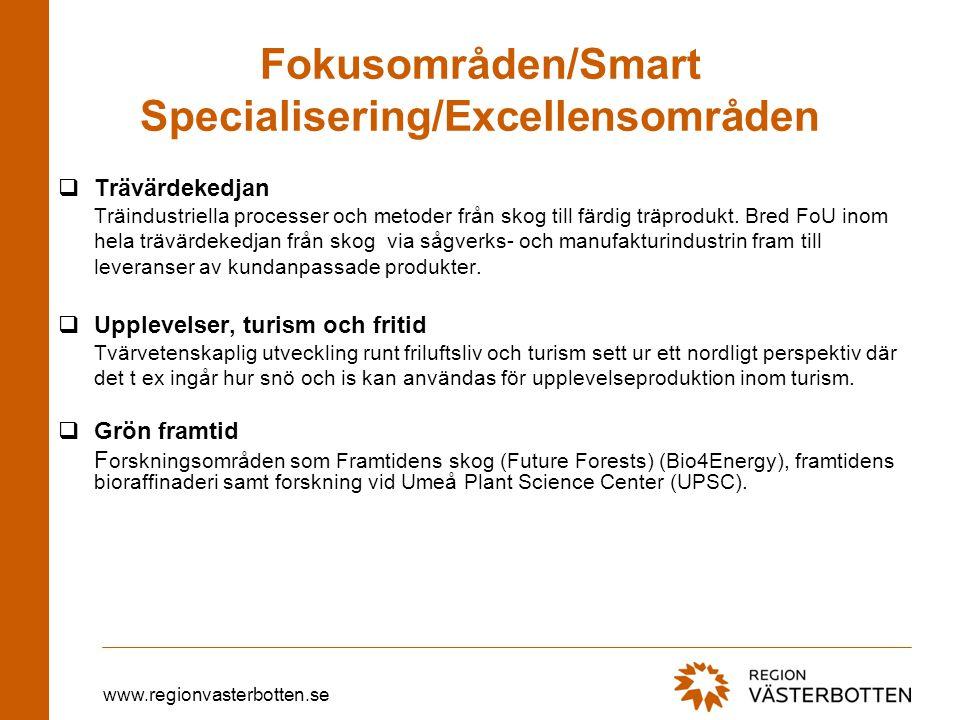 www.regionvasterbotten.se Fokusområden/Smart Specialisering/Excellensområden  Trävärdekedjan Träindustriella processer och metoder från skog till fär