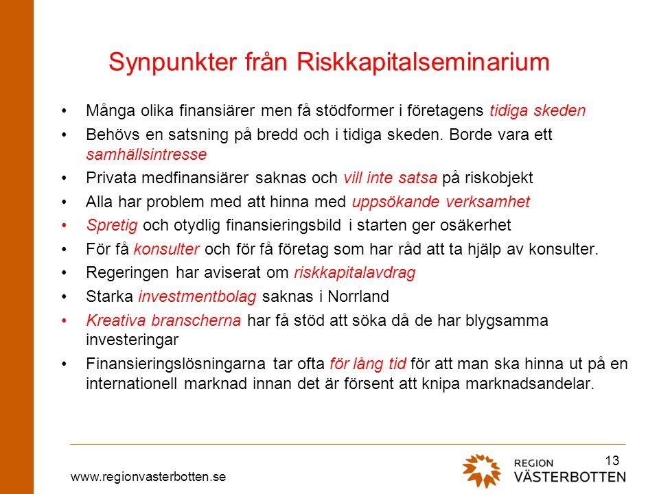 www.regionvasterbotten.se Synpunkter från Riskkapitalseminarium Många olika finansiärer men få stödformer i företagens tidiga skeden Behövs en satsnin