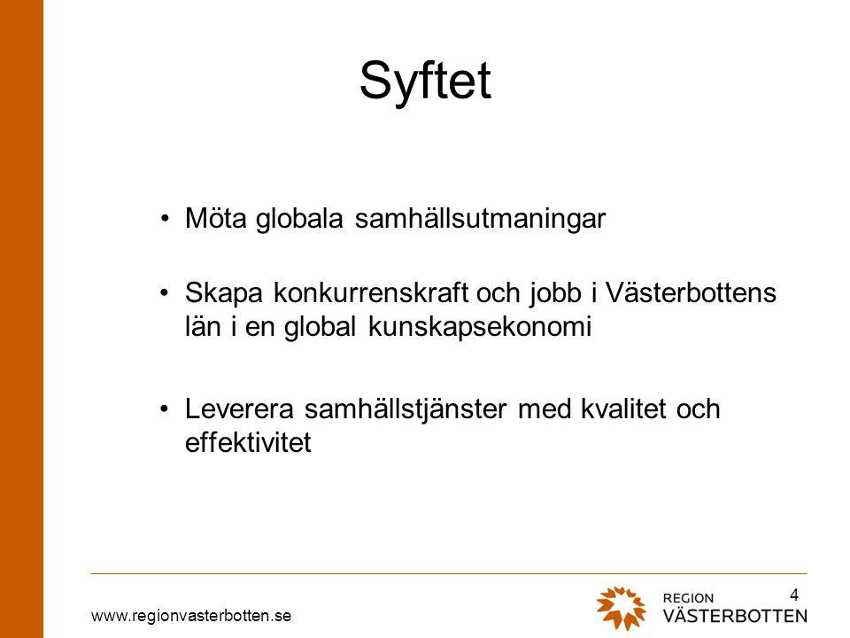 www.regionvasterbotten.se Syftet Möta globala samhällsutmaningar Skapa konkurrenskraft och jobb i Västerbottens län i en global kunskapsekonomi Levere