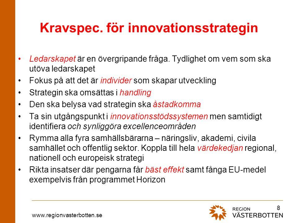 www.regionvasterbotten.se Kravspec. för innovationsstrategin Ledarskapet är en övergripande fråga. Tydlighet om vem som ska utöva ledarskapet Fokus på