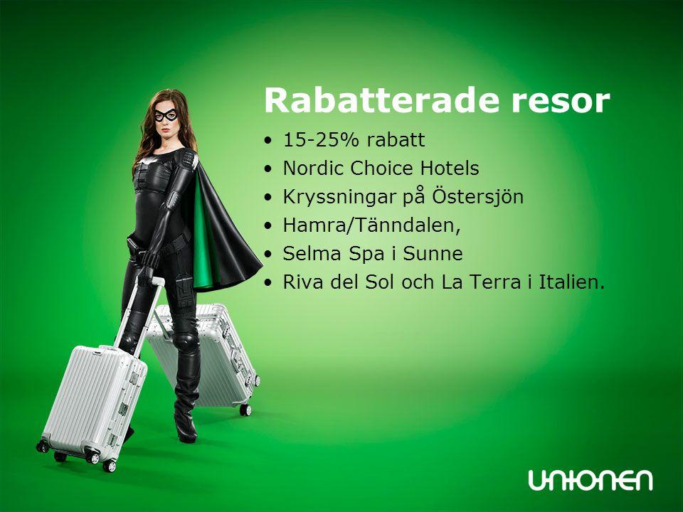 Rabatterade resor 15-25% rabatt Nordic Choice Hotels Kryssningar på Östersjön Hamra/Tänndalen, Selma Spa i Sunne Riva del Sol och La Terra i Italien.