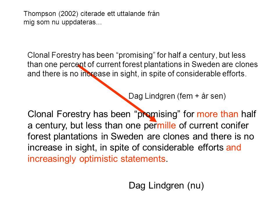 Ekonomisk kalkyl presenterad av Lennart Eriksson 050823, http://www.nordgen.org/nsfp/doc/konferenser/2005frosta/NSFP2005_lennart_eriksson.ppt,G36 gran, omloppstid 51 år, 3000 plantor/ha, 2% kalkylränta, kkr/ha, Dag komplettering Sort Produktions nivå Mer kostnad Nu värde Mark värde Vitryss proveniens 100%062 97 Sticklingar115%4.578123 Nyanlagd fröplantage 115%0.278123