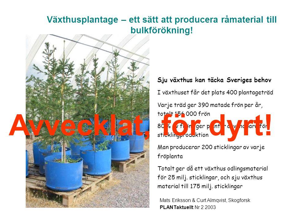 Växthusplantage – ett sätt att producera råmaterial till bulkförökning! Kuvattu maaliskuussa, 1995 Mats Eriksson & Curt Almqvist, Skogforsk PLANTaktue