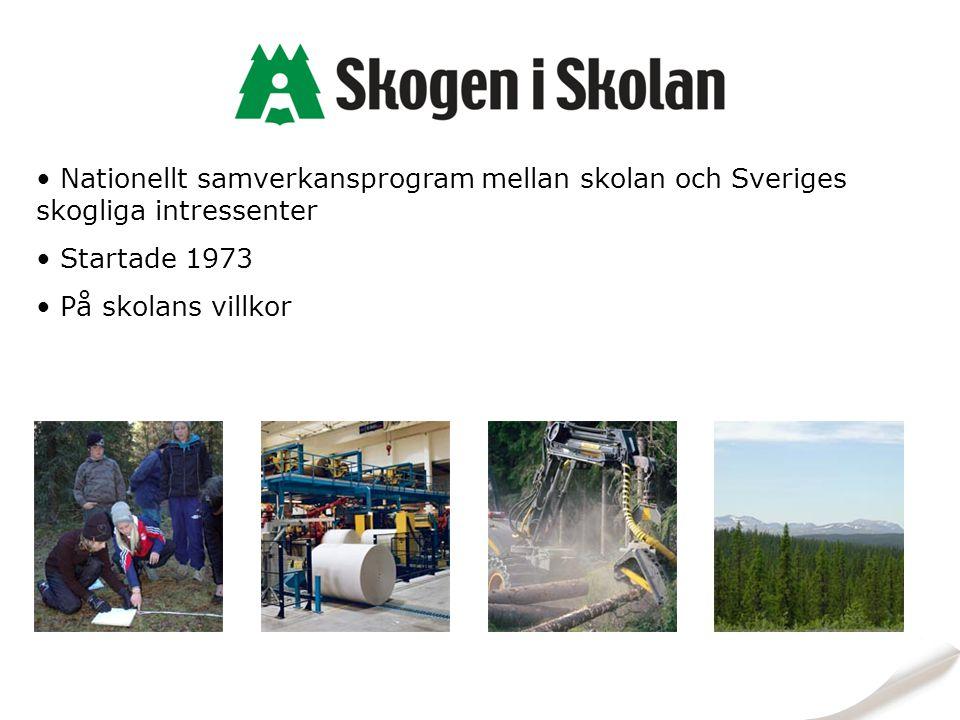 Nationellt samverkansprogram mellan skolan och Sveriges skogliga intressenter Startade 1973 På skolans villkor